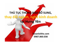 THỦ TỤC Thông báo bổ sung, thay đổi ngành, nghề kinh doanh (đối với doanh nghiệp tư nhân, công ty TNHH, công ty cổ phần, công ty hợp danh) tại Hưng Yên