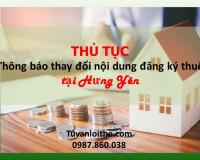 THỦ TỤC  Thông báo thay đổi nội dung đăng ký thuế tại Hưng Yên