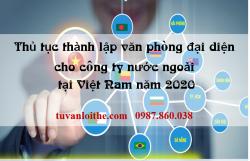 Thủ tục thành lập văn phòng đại diện cho công ty nước ngoài tại Việt Nam năm 2020