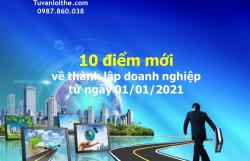 10 điểm mới về thành lập doanh nghiệp từ ngày 01/01/2021
