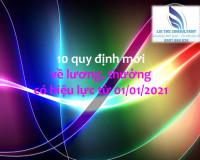 10 quy định mới về lương, thưởngcó hiệu lực từ ngày 1/1/2021