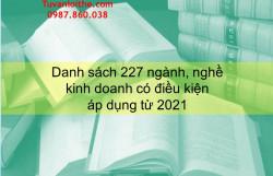 Danh sách 227 ngành, nghề  kinh doanh có điều kiện  áp dụng từ 2021