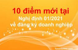 10điểm mới tại Nghị định 01/2021 về đăng ký doanh nghiệp