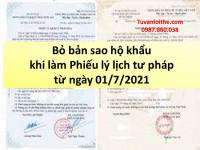 Bỏ bản sao hộ khẩu khi làm Phiếu lý lịch tư pháp từ ngày 01/7/2021