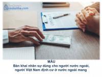 MẪU Bản khai nhân sự dùng cho người nước ngoài, người Việt Nam định cư ở nước ngoài mang